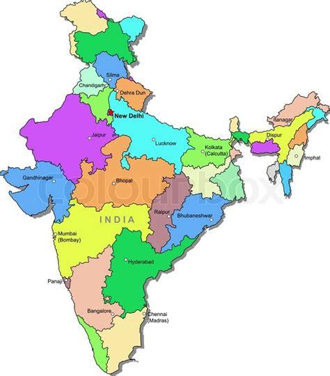 India Outline Map Coloured by Indien Karte Vektorgrafik Colourbox