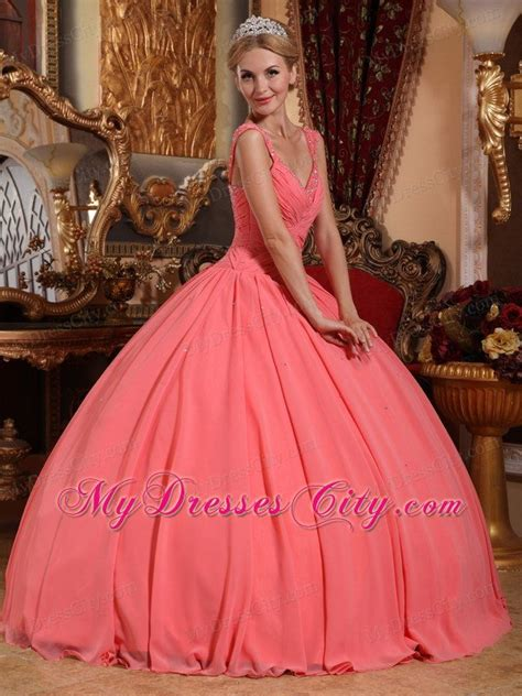 Dress Maxco by Chiffon Watermelon Pink Dresses For Quince With Beaded