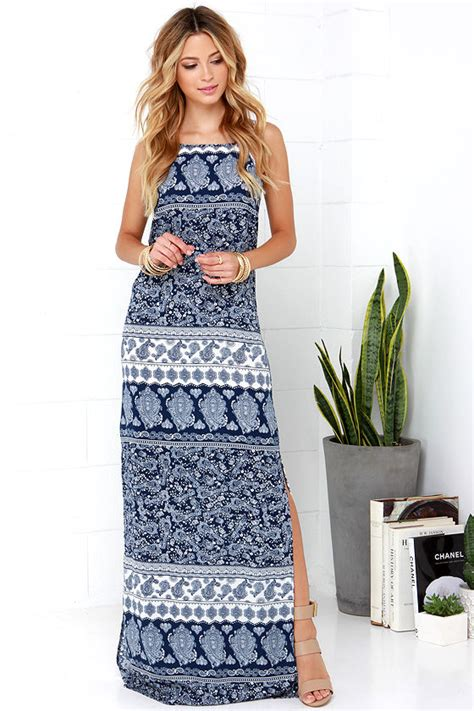 Blue Boho boho maxi dress navy blue maxi dress print maxi dress