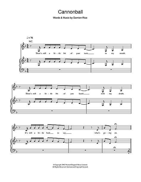 testo cannonball cannonball partition par mix piano chant et