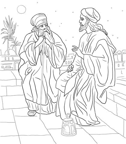 jesus and nicodemus coloring page free printable