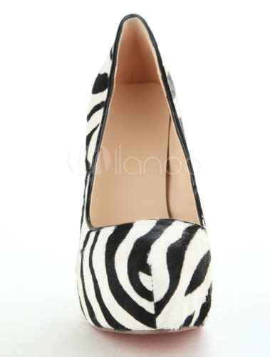 zebra pattern heels zebra pattern high heel platform pu shoes milanoo com