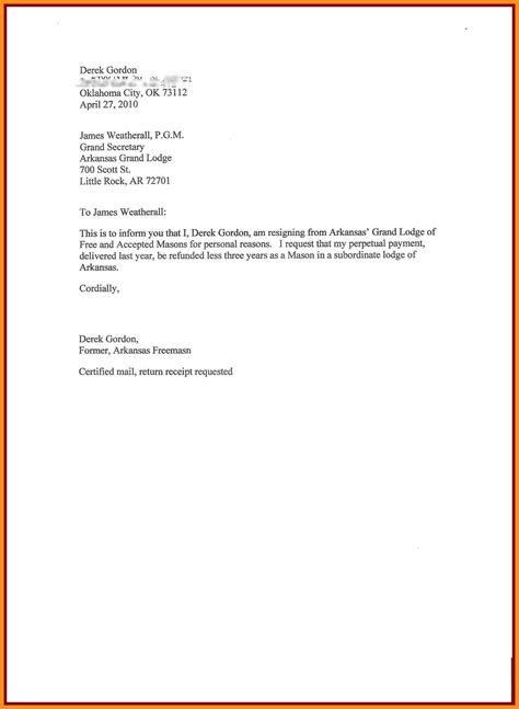 Personal Resignation Letter by 9 Resign Letter Format For Personal Reason Mystock Clerk