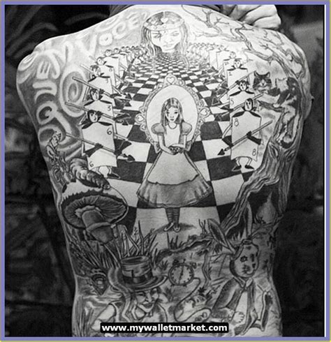 full body tattoo black and white alice in wonderland tattoos black white full body