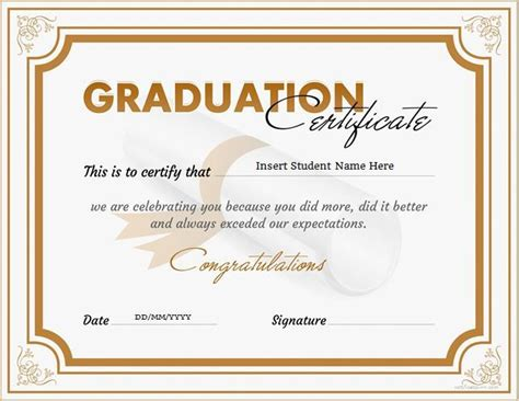 graduation certificates templates graduation certificate for ms word at http