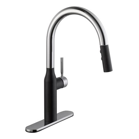 kitchen faucet black finish schon contemporary single handle pull down sprayer kitchen faucet in dual finish chrome and