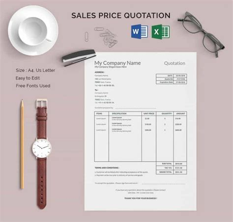 quotation layout sle 28 price quotation template 3 free 30 quotation