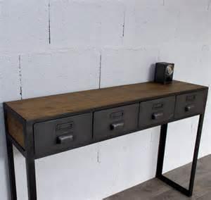 console style industriel avec tiroirs sur mesure