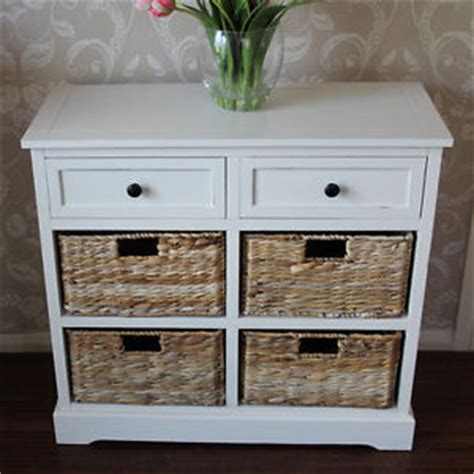 ivory wicker storage unit two drawer four baskets chest of