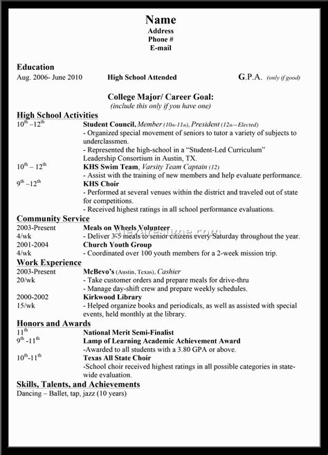 Sle High School Student Resume For College Application sle high school resume for college admission 28 images