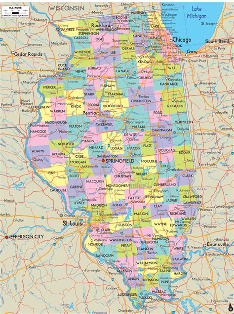 il map political map of illinois ezilon maps