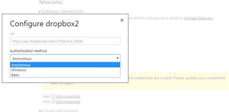 dropbox error solved dropbox api v2 gateway credential error