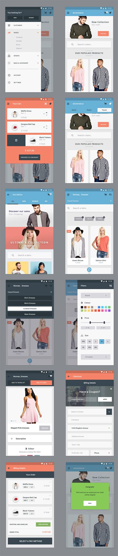 app home screen design inspiration free ecommerce app ui designs 12 app screen 72pxdesigns
