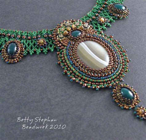 cabochon bead embroidery netted grace beaded necklace with bead embroidered agate