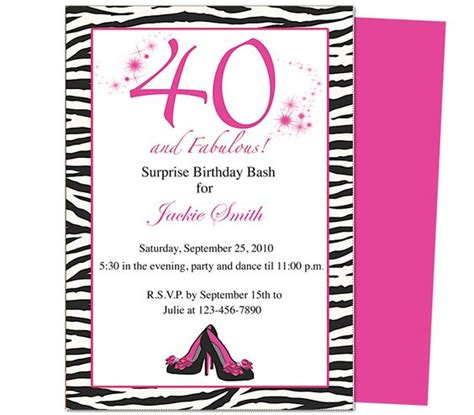 40th birthday invite template 40th birthday invites fabulous 40th birthday invitation