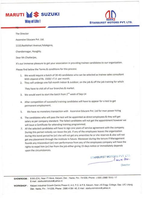 Letter For Business Tie Up Placement Partners Ascensive Institute Of Multipurpose Education