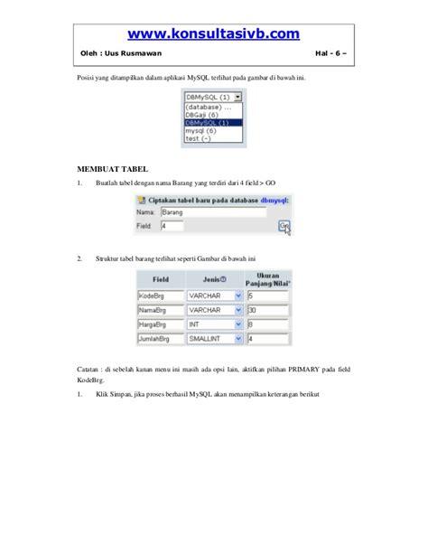 membuat database vb dengan mysql koneksi vb dengan database mysql