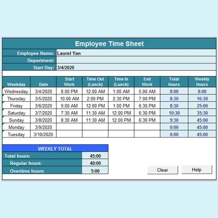 Timecard Spreadsheet by Timesheet Calculator Template Time Card Calculator