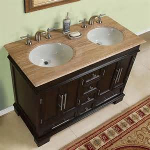 G3130 48 double sink vanity travertine top cabinet