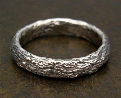 Bark Design Wedding Ring by Rustic Tree Bark Mens Ring In Sterling Silver Wedding
