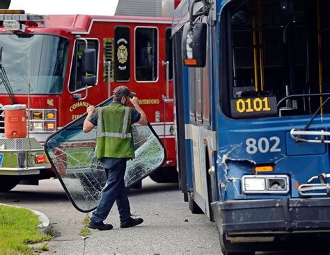 day updated driver  injured  waterford crash involving car seat bus news