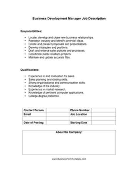 Construction Job Business Development Manager Construction Job Description Manager Description Template