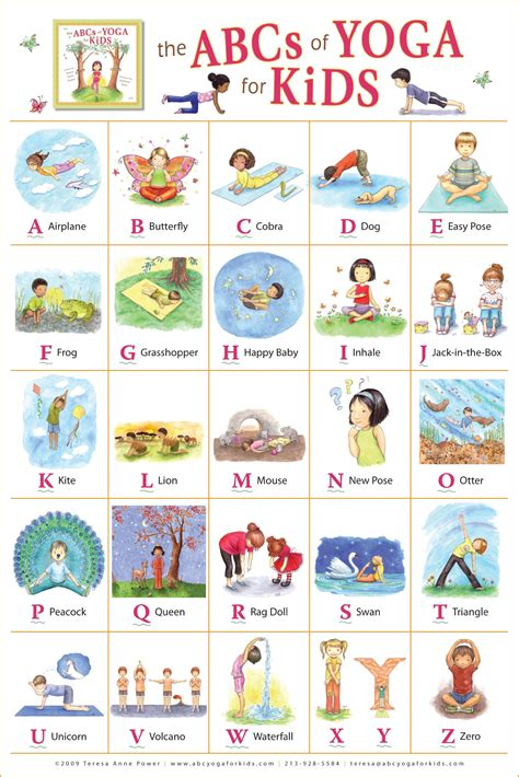 childrens yoga poses printable the abcs of yoga for kids poster teresa anne power