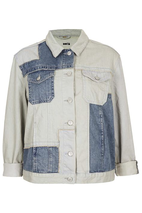 Patchwork Denim Jacket - topshop moto patchwork denim jacket in blue