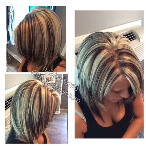 foiling lowlights on bleached hair chunky highlights and lowlights platinum hair dark brown