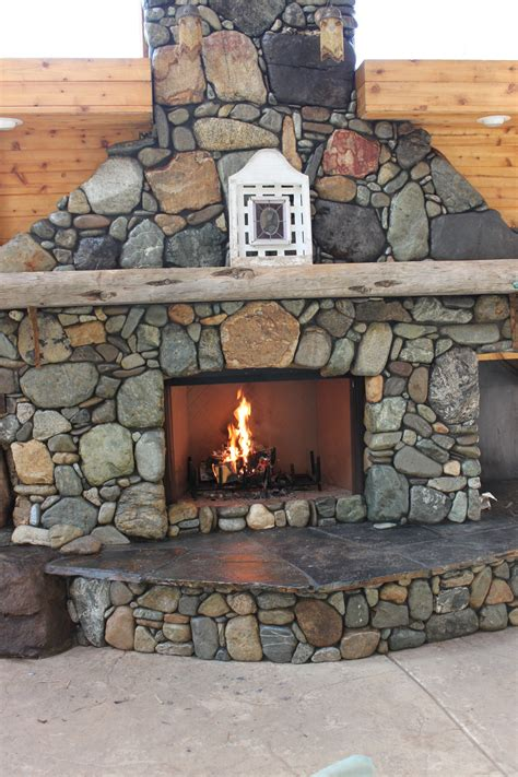 custom built river rock fireplace crafty for the home