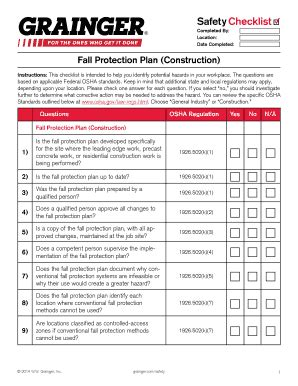 Fall Protection Plan Construction Staticgraingercom Fill Online Printable Fillable Blank Fall Protection Plan Template
