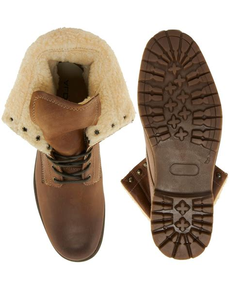 aldo slippers for aldo wiebe shearling boots in brown for lyst