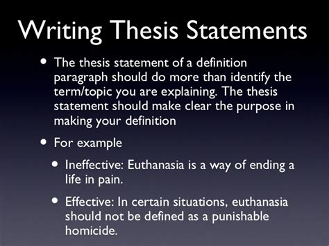 the definition of a thesis statement definition essays