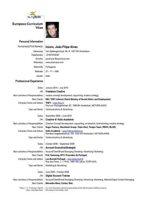 resume exle format pdf cv joao inacio version 1 0 pdfsr
