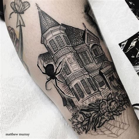 house tattoo haunted house leg best design ideas