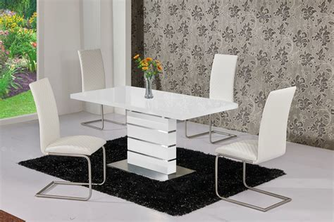 White Extendable Dining Table And Chairs Extendable White High Gloss Dining Table And 6 White Chairs Set Ebay