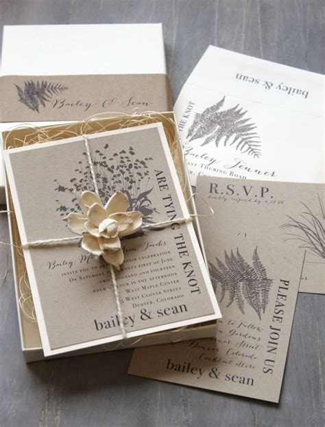 Wedding Invitations Recycled Paper by Boxed Wedding Invitations Enchanted Woodland Wedding Rustic