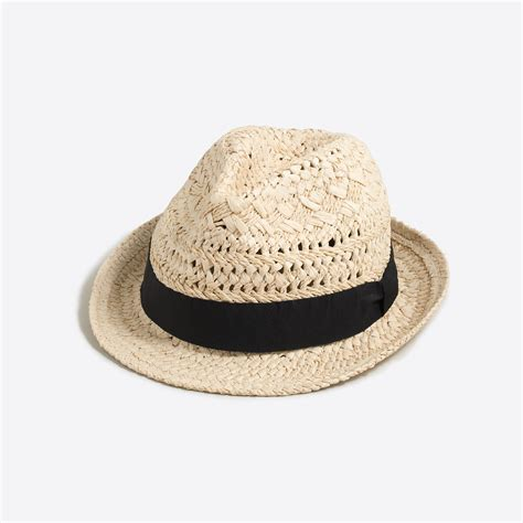 straw fedora with ribbon s hats j crew factory