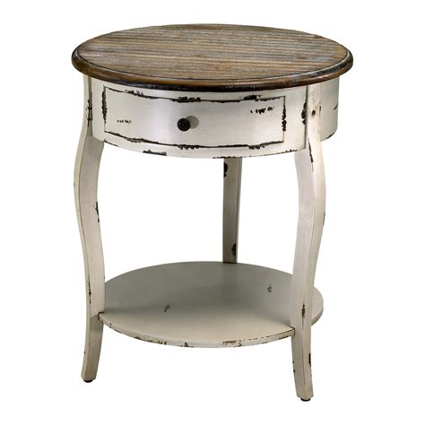 round white accent table wood round accent side table french country distressed white ebay
