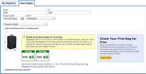 united baggage costs united changes star gold baggage allowance one mile at a