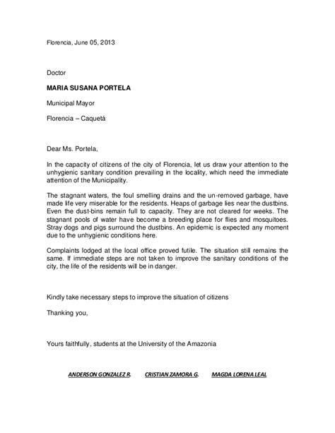 Complaint Letter Template To Estate Complaint Letter