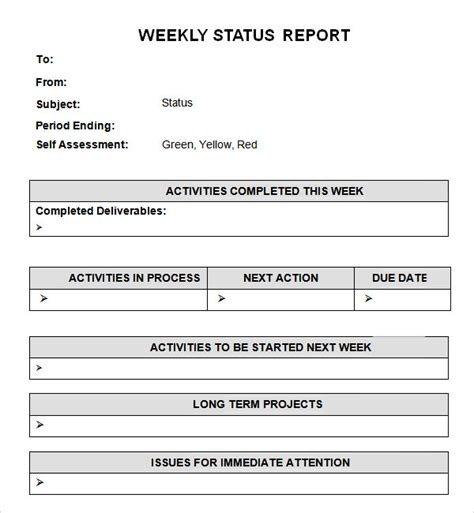 weekly status report template 7 free pdf doc download