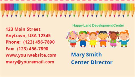 Daycare Business Cards Templates by Daycare Business Cards Thelayerfund