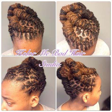 Pin Up Hairstyles For Dreads by Locs Pin Up Barrel Twist Kolor Me Bad Hair Studio Locs