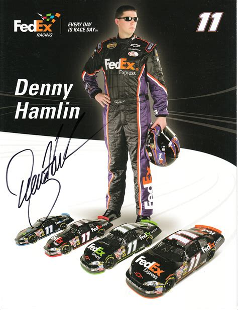 racing autograph card template denny hamlin autographed fedex racing nascar photo card