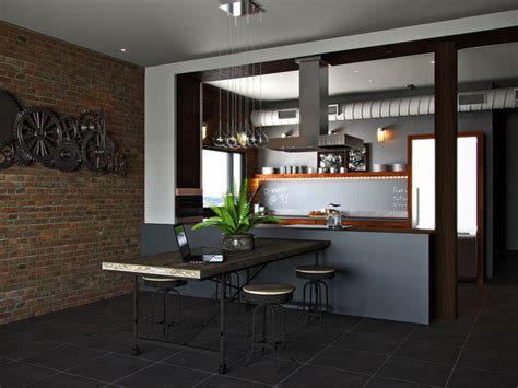 rustic industrial kitchen contemporary rendering by kitchens