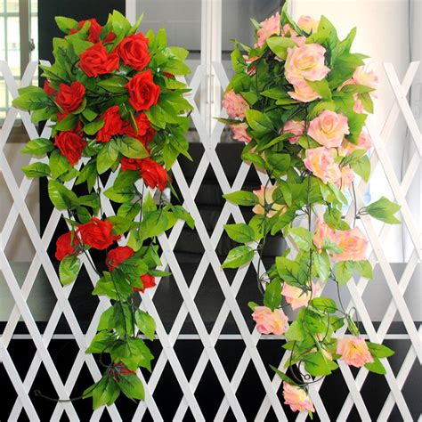 home decor artificial flowers 2 5m artificial silk rose fake flower ivy vine hanging
