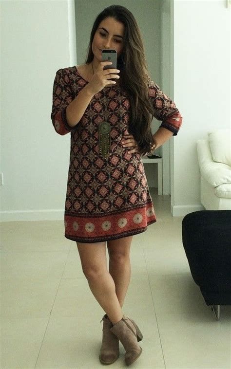 Brown Ethnic Tunic Dress 16989 1 ethnic tunic dress with booties shift dress and booties