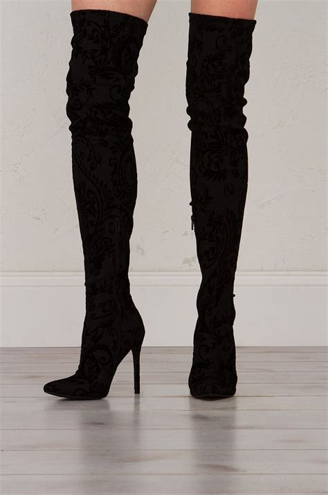 knee floral textured boots  black  nude