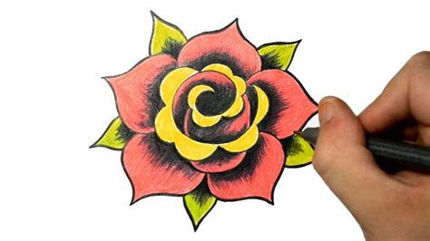how to draw a traditional rose tattoo eletragesi easy drawing for images